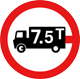 No goods vehicles over maximum gross weight shown in tonnes - Peso bruto total máximo permitido