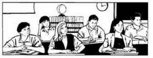 Alunos na aula de inglês