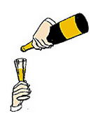 Pouring champagne into the glass
