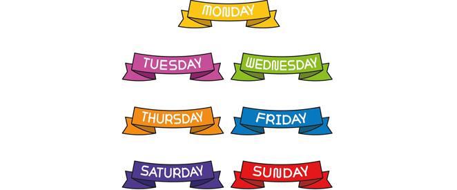 Os Dias Da Semana Em Inglês